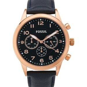 Fossil Men's BQ2129 Rose Gold Blue Leather Watch